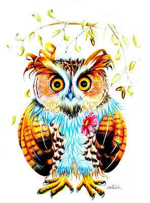 Wings Drawing - The Most Beautiful Owl by Isabel Salvador
