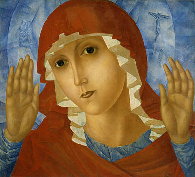 Petrov Painting - The Mother Of God Of Tenderness Towards Evil Hearts by Kuzma Petrov-Vodkin