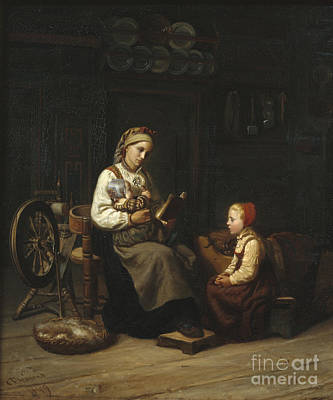The Mothers Teaching Print by Adolph Tidemand