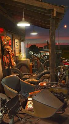 Wooden Digital Art - The Motorcycle Shop 2 by Mike McGlothlen