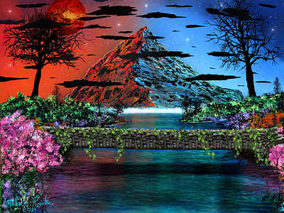 Pallet Knife Digital Art - The Mountain Canal by Michael Rucker