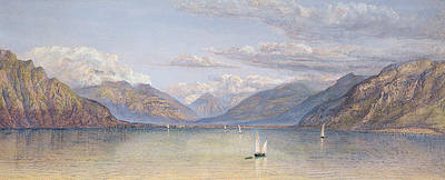 Tranquil Painting - The Mountains Of St Gingolph by John Brett