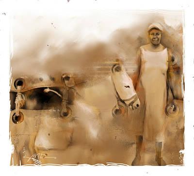 Mule Digital Art - The Mule Skinner by Bob Salo