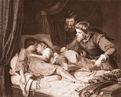 The Murder Of The Princes In The Tower Print by English School