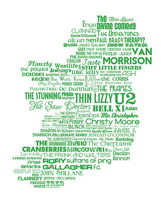 U2 Digital Art - The Music Of Ireland - Limited Edition Typographic Poster Print  by Philip Walsh