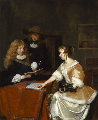 The Music Party, C.1668-70 Oil On Panel Print by Gerard ter Borch or Terborch
