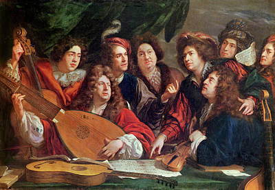 Lute Photograph - The Musical Society, 1688 Oil On Canvas by Francois Puget