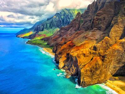 Mauna Kea Painting - The Na Pali Coast Of Kauai by Dominic Piperata
