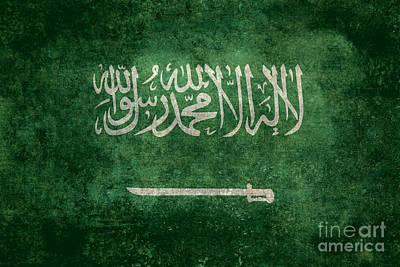Islam Digital Art - The National Flag Of  Kingdom Of Saudi Arabia  Vintage Version by Bruce Stanfield