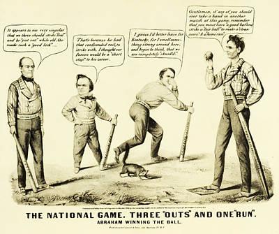 Democrat Digital Art - The National Game - Abraham Lincoln Plays Baseball by Digital Reproductions