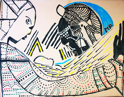 African Contemporary Ceramics Painting - The Nativity Of Jesus by Gloria Ssali