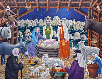 Manger Painting - The Nativity by Ronald Haber