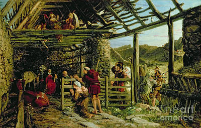 Christmas Greeting Painting - The Nativity by William Bell Scott