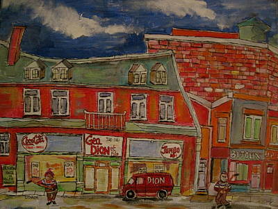 Epicerie Painting - The Neighbourhood 1950 by Michael Litvack