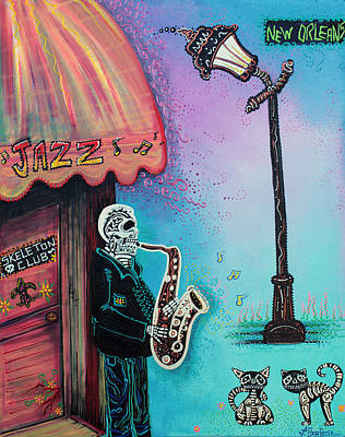 Musical Instruments Painting - The New Orleans Skeleton Club by Laura Barbosa
