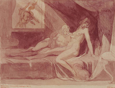 Lesbianism Photograph - The Nightmare Leaving Two Sleeping Women, 1810 Graphite & Wc On Paper by Henry Fuseli