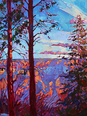 Large Painting - The North Rim Hexaptych - Panel 3 by Erin Hanson