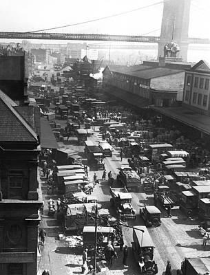The Ny Fulton Street Market Print by Underwood Archives
