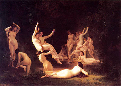 The Nymphaeum Print by William-Adolphe Bouguereau
