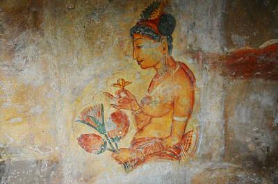 The Ode For The Women Beauty I. Sigiriyan Lady With Flowers. Sigiriya. Sri Lanka Print by Jenny Rainbow