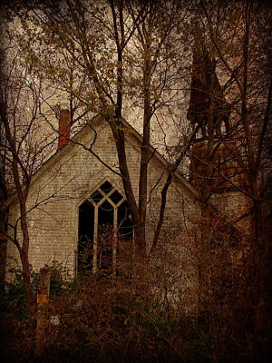 Iowa Digital Art - The Old Abandoned Church by Cassie Peters