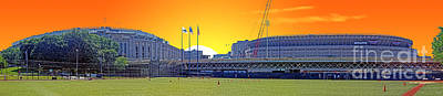 Derek Jeter Digital Art - The Old And New Yankee Stadiums Side By Side At Sunset by Nishanth Gopinathan