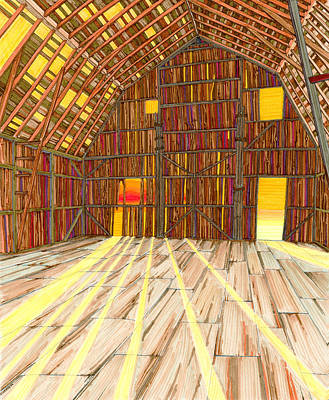 Rural Art Drawing - The Old Barn by Scott Kirby