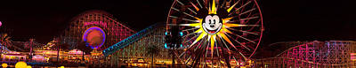 Rollercoaster Photograph - The Old California Adventure At Disneyland At Night by Denise Dube