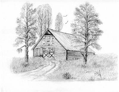 Old Barn Drawing - The Old Country Barn by Syl Lobato