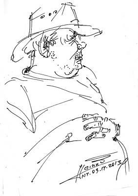 Sketch Drawing - The Old Cowboy by Ylli Haruni
