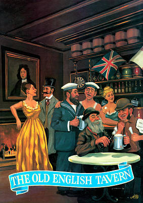 Old Culture Painting - The Old English Tavern by Peter Green