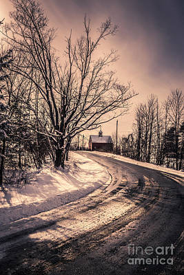 Winter Roads Photograph - The Old Farm Down The Road by Edward Fielding