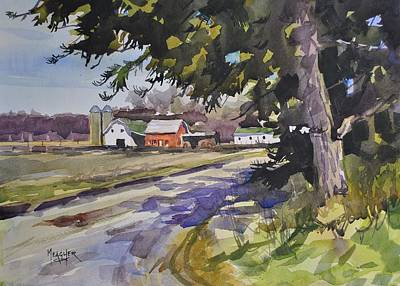 Amish Farms Painting - The Old Farm Lane by Spencer Meagher