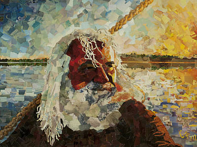 Mosaic Mixed Media - The Old Man And The Sea by Claire Muller