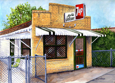 Seven Up Sign Painting - The Old Neighborhood Grocery by Elaine Hodges