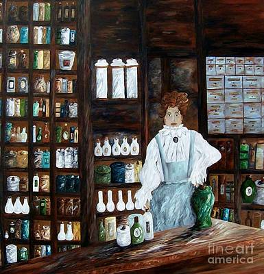 Pharmacy Painting - The Old Pharmacy ... Medicine In The Making by Eloise Schneider