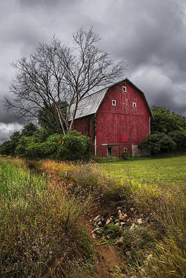 Michigan Farmhouse Photograph - The Old Red Barn by Debra and Dave Vanderlaan