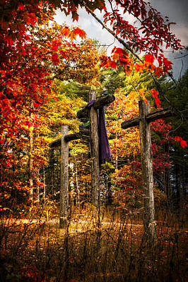 Three Trees Photograph - The Old Rugged Cross by Debra and Dave Vanderlaan