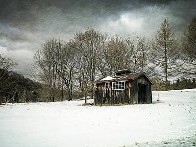 Winter Storm Photograph - The Old Sugar Shack by Edward Fielding