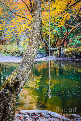 Autumn Landscape Photograph - The Old Swimming Hole by Edward Fielding