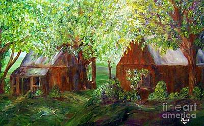 Barn Painting - The Old Swing Between The House And The Barn by Eloise Schneider