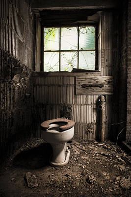 The Old Thinking Room - Abandoned Restroom And Toilet Print by Gary Heller