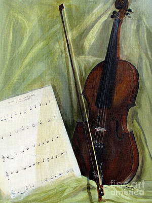 The Old Violin Print by Sharon Burger