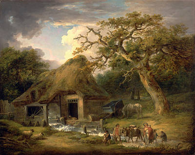 Water Mills Painting - The Old Water Mill by George  Morland