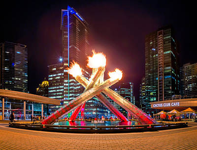 The Olympic Cauldron In Vancouver Print by Alexis Birkill