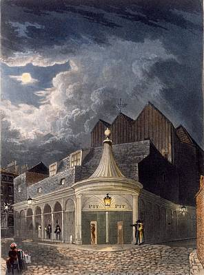 Street Drawing - The Olympic Theatre, 1826 by Daniel Havell
