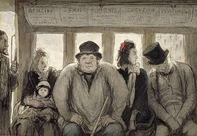 Obesity Drawing - The Omnibus by Honore Daumier