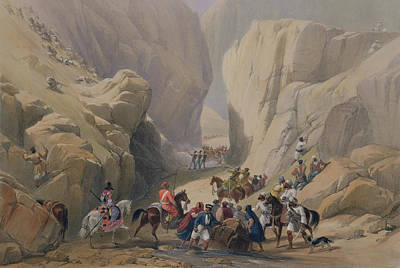 Mountain Drawing - The Opening Into The Narrow Pass Above by James Atkinson