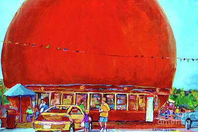 Montreal Streets Painting - The Orange Julep Montreal Summer City Scene by Carole Spandau