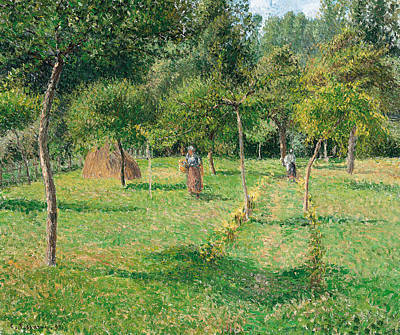 The Orchard At Eragny Print by Camille Pissarro